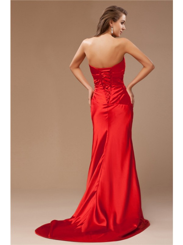 Hot Sale Mermaid Strapless Long Sleeveless Taffeta Dress