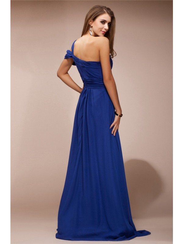 Modest Sheath One Shoulder Sleeveless Long Chiffon Dress