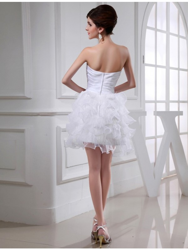 Gorgeous A-Line Sweetheart Sleeveless Short Satin Organza Cocktail Dress