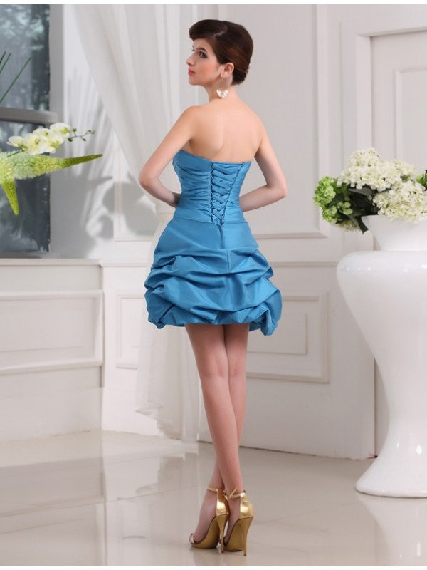 Gorgeous A-Line Sleeveless Strapless Short Taffeta Cocktail Dress