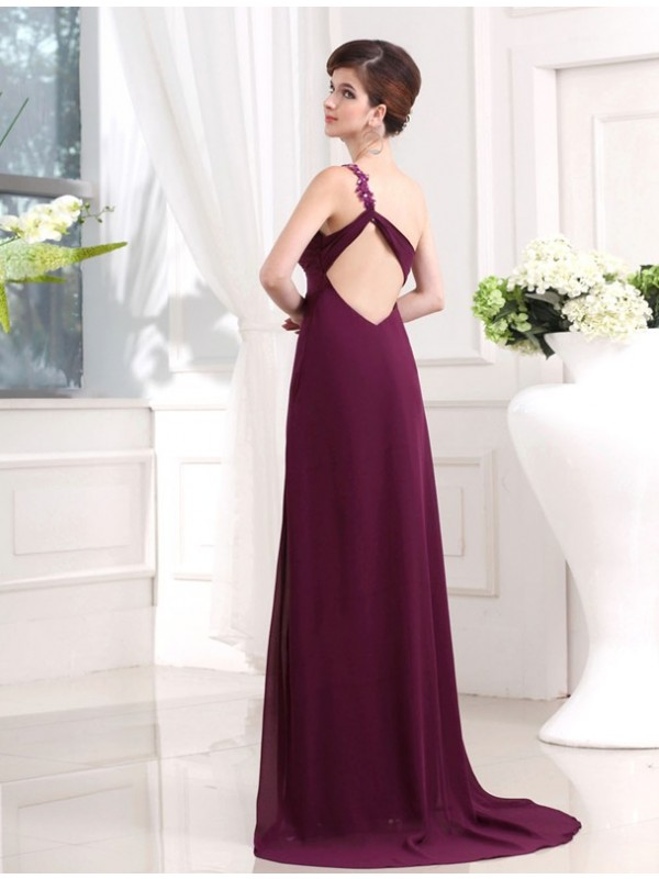 Hot Sale A-Line One-shoulder Sweetheart Sleeveless Chiffon Long Dress