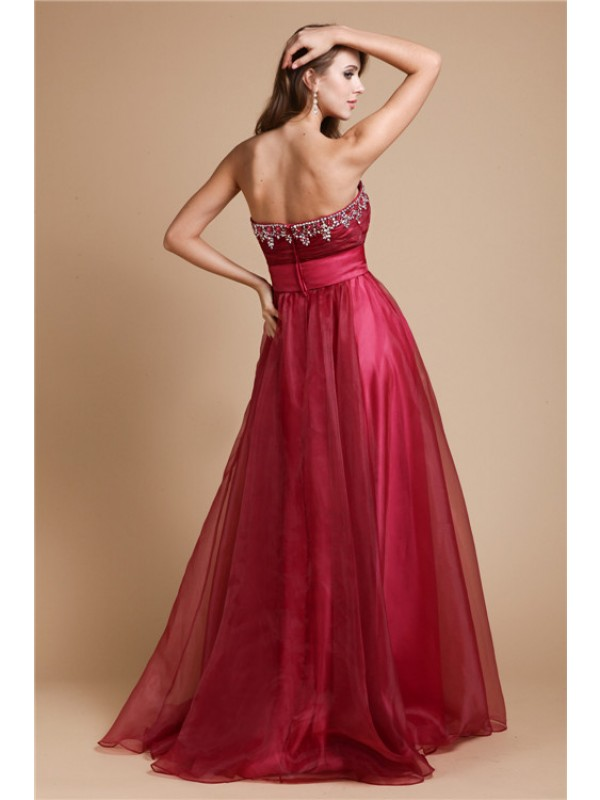 Hot Sale A-Line Sweetheart Sleeveless Long Organza Dress