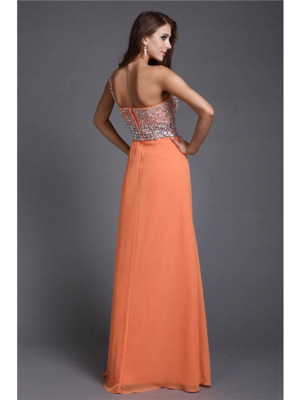 Modest Sheath One Shoulder Long Sleeveless Chiffon Dress