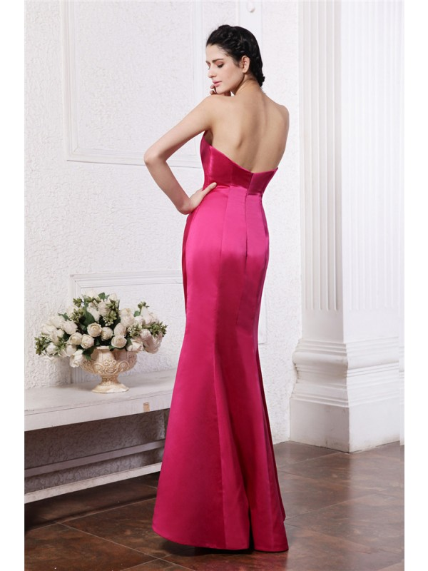 Gorgeous Sheath Sweetheart Sleeveless Long Elastic Woven Satin Bridesmaid Dress