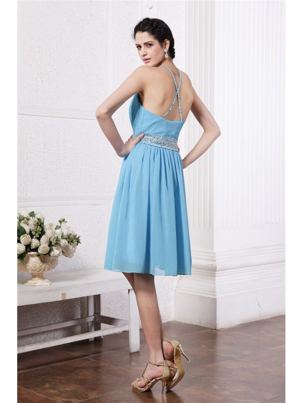 Gorgeous Sheath Halter Sleeveless Short Chiffon Bridesmaid Dress