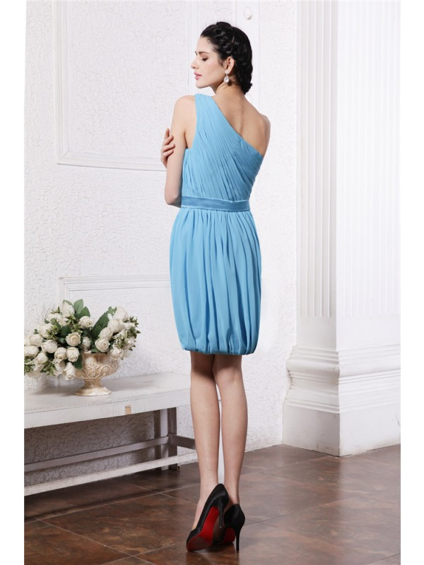 Hot Sale Sheath One-Shoulder Sleeveless Short Chiffon Cocktail Dress