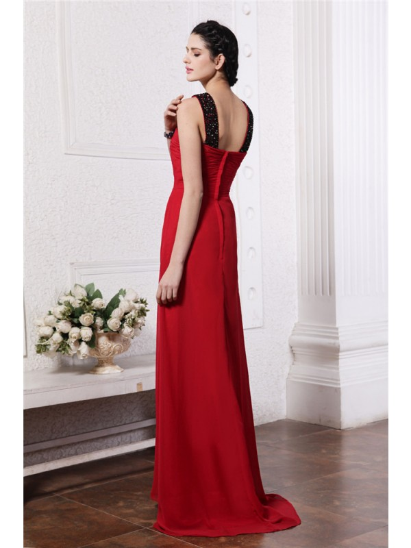 Hot Sale Sheath V-neck Sleeveless Long Chiffon Dress
