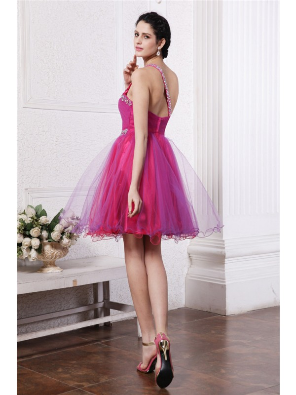 Hot Sale A-Line One-Shoulder Sleeveless Short Organza Cocktail Dress