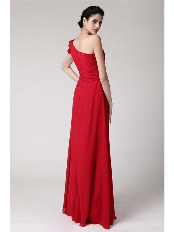 Hot Sale Sheath One-Shoulder Sleeveless Long Chiffon Dress