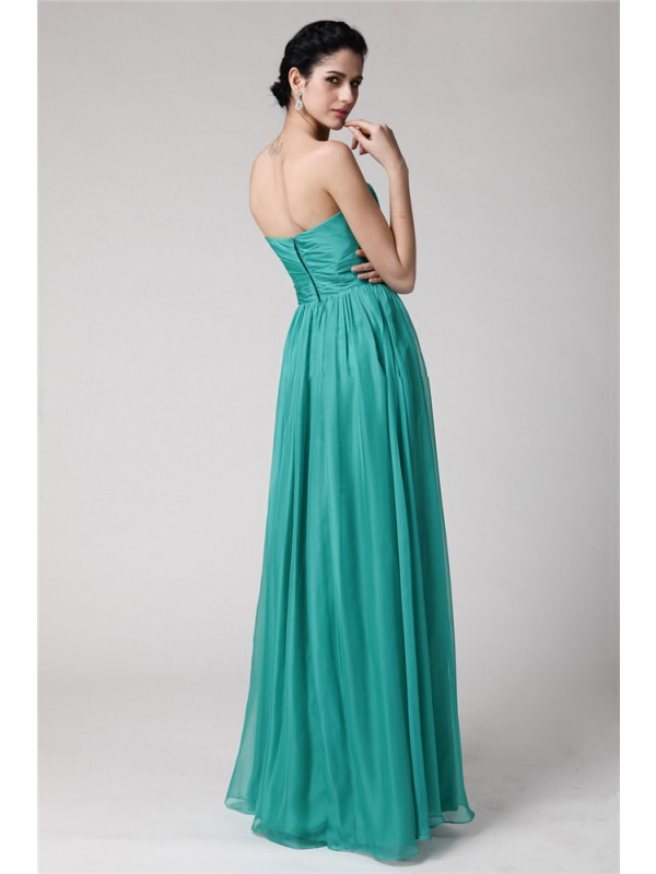 Gorgeous Sheath Sweetheart Sleeveless Long Chiffon Bridesmaid Dress