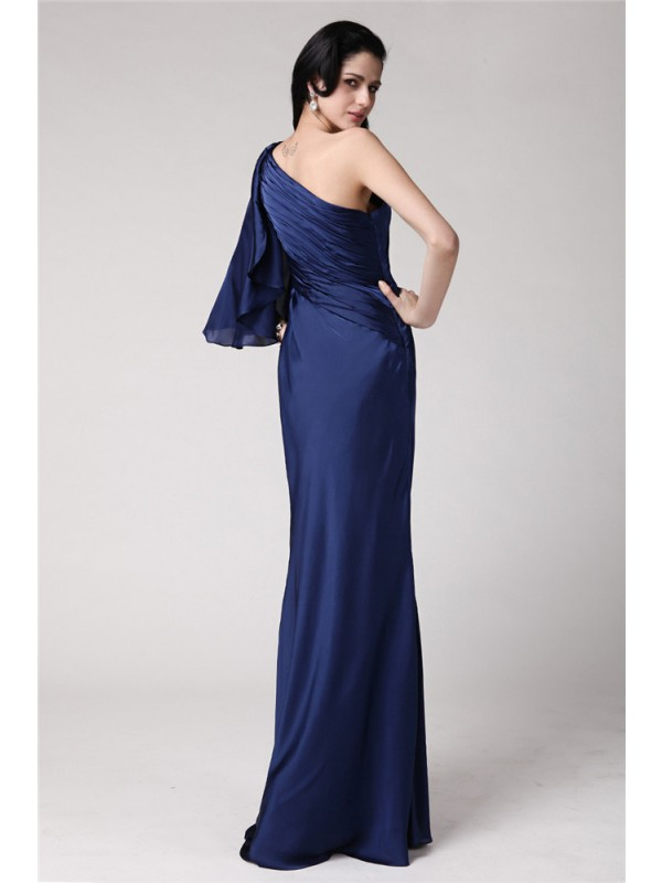 Hot Sale Mermaid One-Shoulder Long Feather Chiffon Damask Dress
