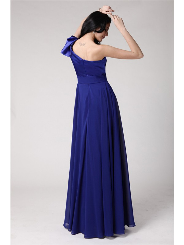 Hot Sale A-Line One-Shoulder Sleeveless Long Elastic Woven Satin Chiffon Dress