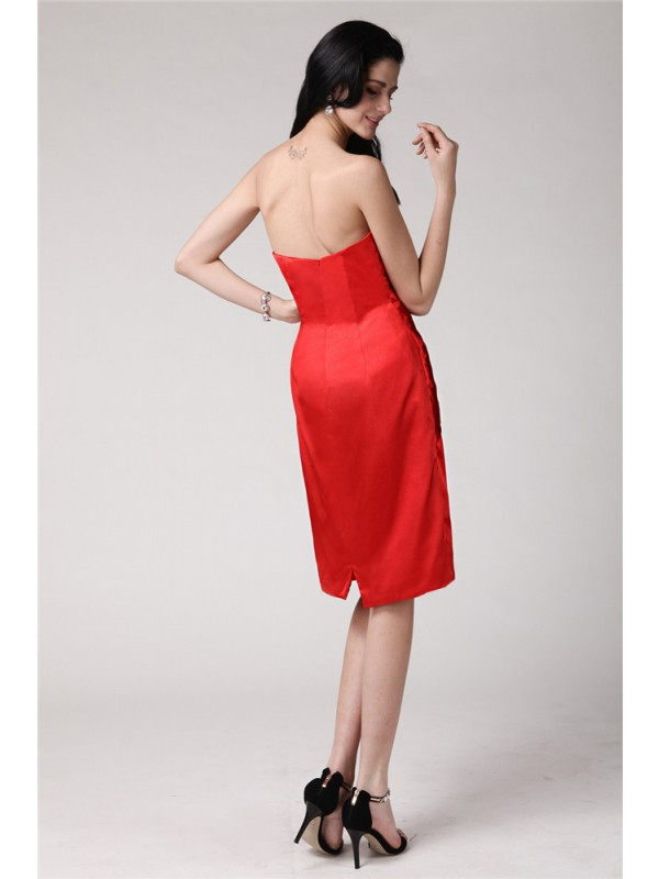 Hot Sale Sheath Strapless Sleeveless Short Elastic Woven Satin Cocktail Dress