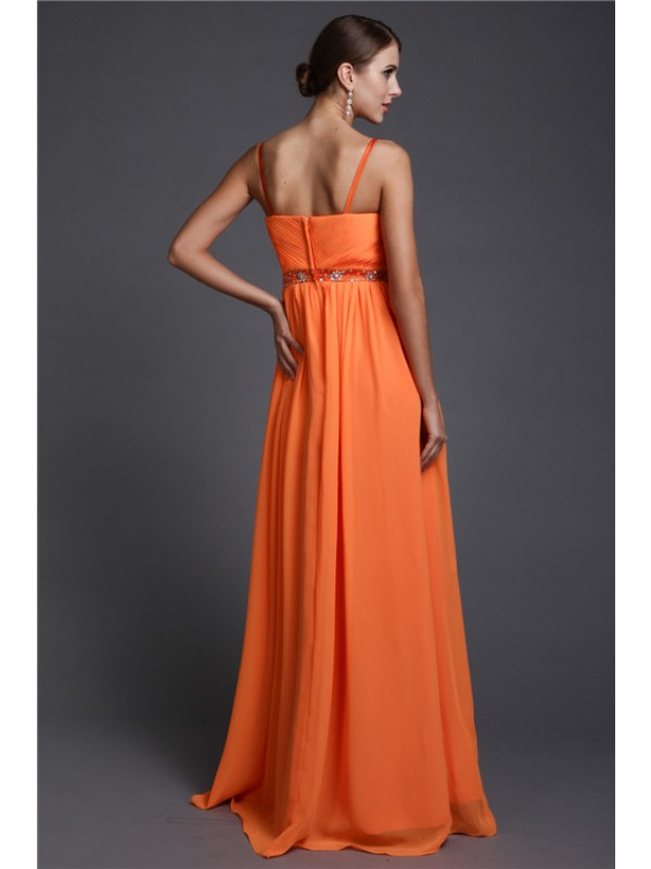 Hot Sale A-Line Spaghetti Straps Sleeveless Long Chiffon Dress