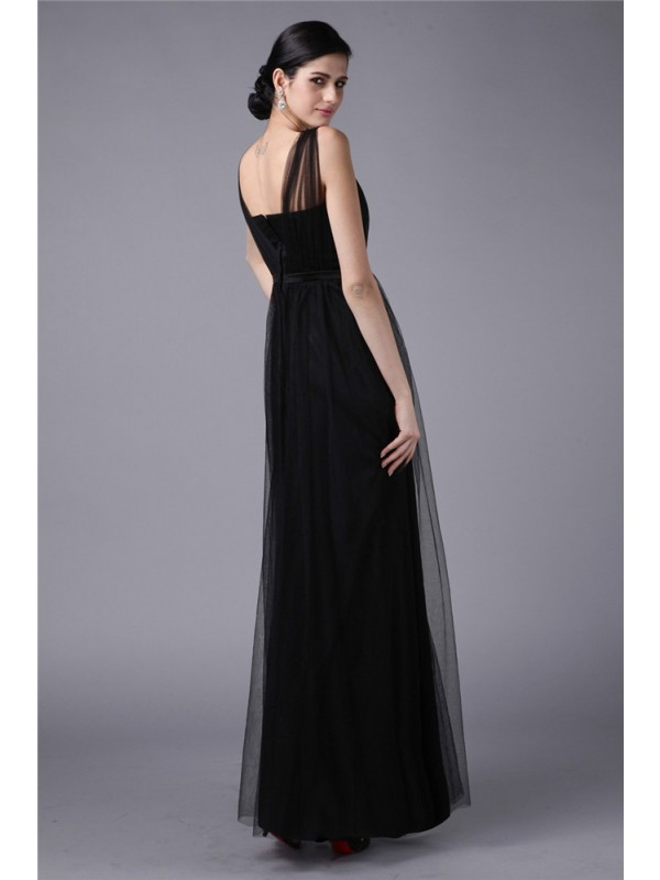 Modest Sheath Straps Sleeveless Sash Long Net Dress