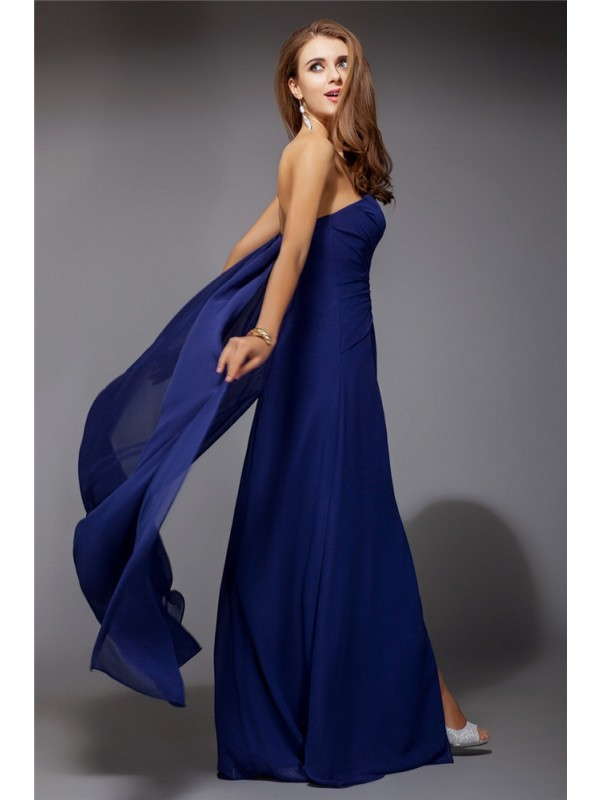 Modest Sheath Sweetheart Long Sleeveless Chiffon Dress