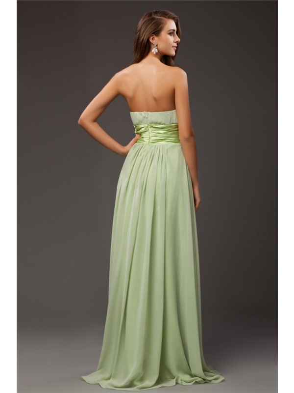Gorgeous Sheath Strapless Sleeveless Long Chiffon Elastic Woven Satin Bridesmaid Dress