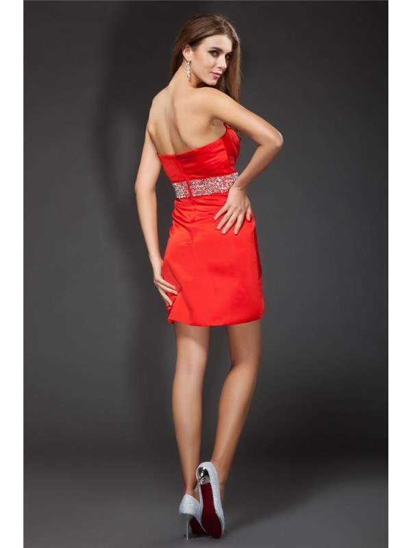 Hot Sale Sheath Strapless Sleeveless Short Satin Cocktail Dress