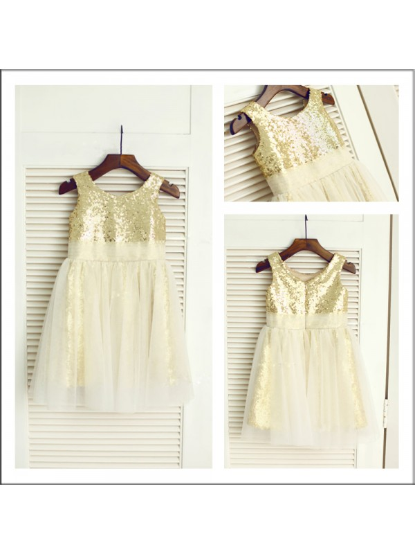 Perfect A-Line Scoop Sleeveless Tea-length Sequins Flower Girl Dress