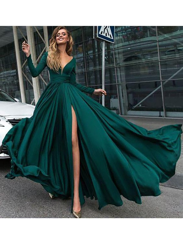 Fashion A-Line V-Neck Long Sleeves Sweep/Brush Train Satin Chiffon Dress
