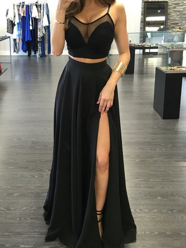 Perfect A-Line Spaghetti Straps Sleeveless Floor-Length Chiffon Two Piece Dress