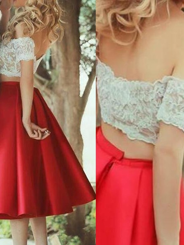 Perfect A-Line Sleeveless Off-the-Shoulder Satin Lace Knee-Length Two Piece Dress