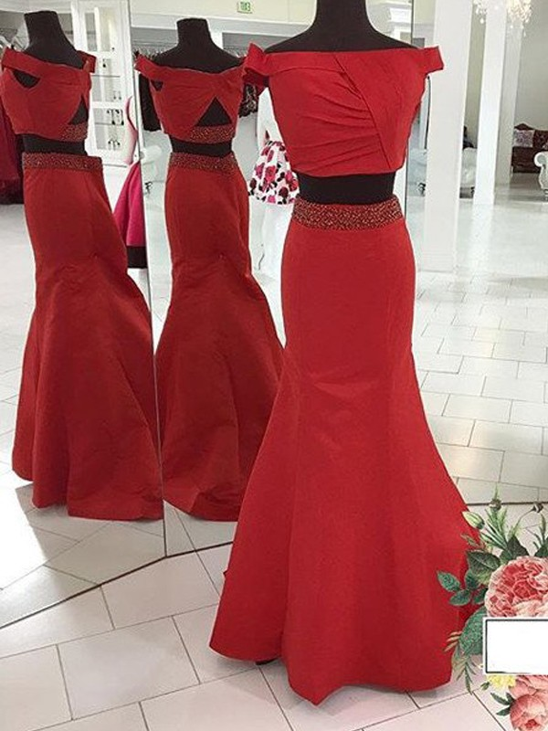 Perfect Mermaid Sleeveless Off-the-Shoulder Sweep/Brush Train Satin Two Piece Dress