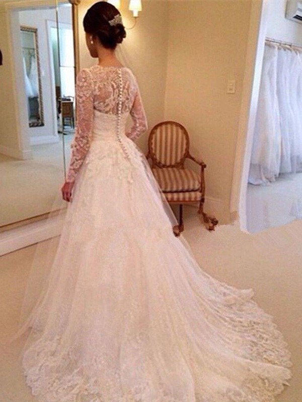 Discount Ball Gown V-neck Long Sleeves Lace Court Train Tulle Wedding Dress