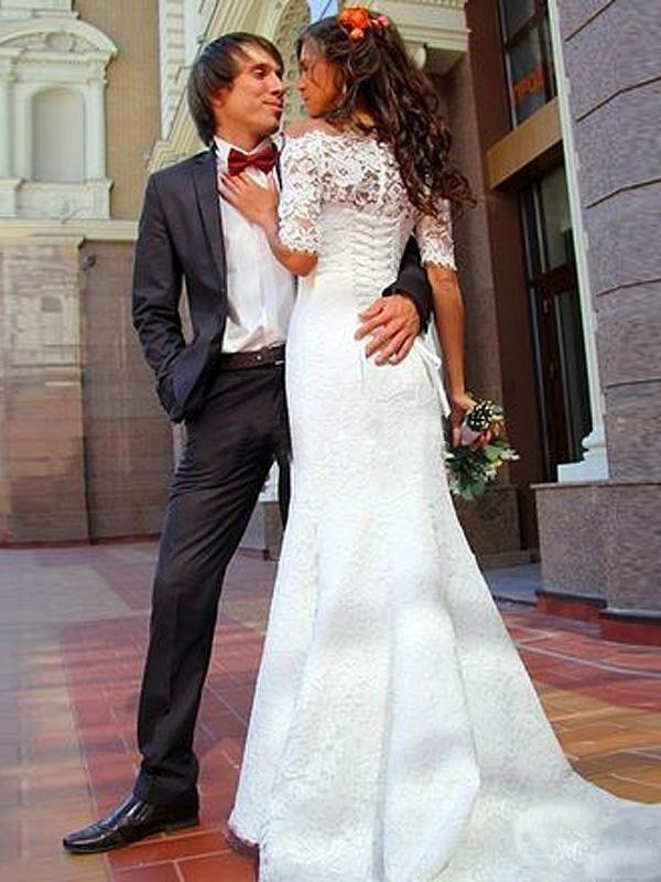 Discount Mermaid Off-the-Shoulder 1/2 Sleeves Lace Sweep/Brush Train Wedding Dress