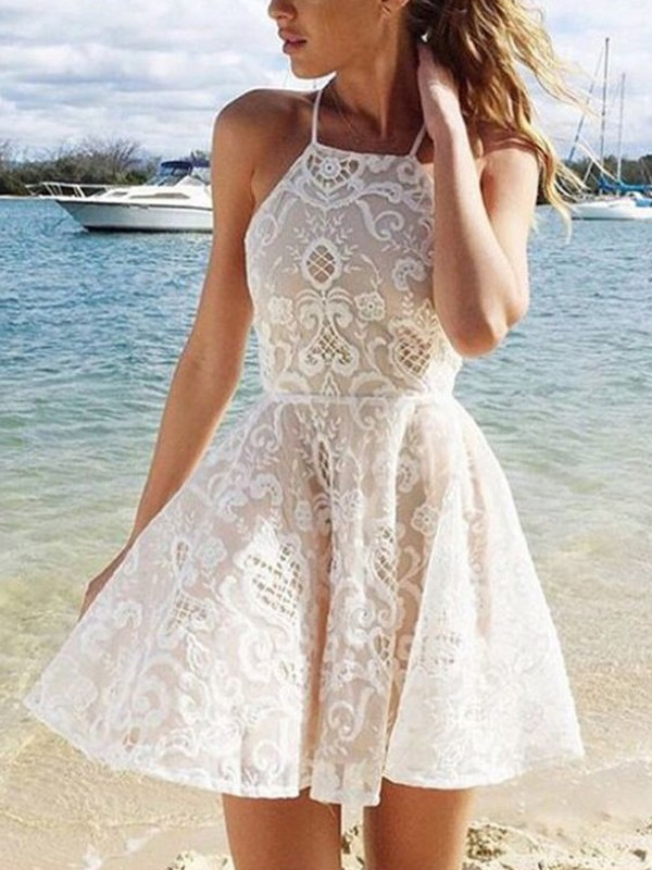 Discount A-Line Sleeveless Halter Lace Spandax Short/Mini Dress