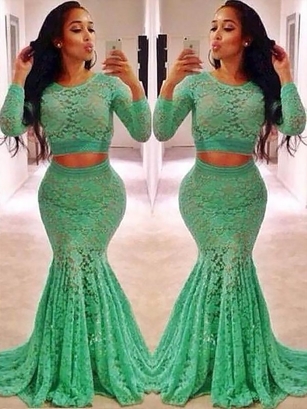 Stylish Mermaid Scoop Long Sleeves Lace Sweep/Brush Train Two Piece Dress