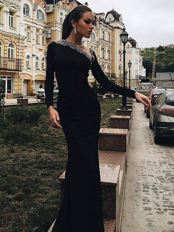 Fashion Mermaid Long Sleeves One-Shoulder Satin Floor-Length Dress