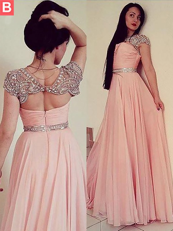 Fashion A-Line Jewel Sleeveless Floor-Length Chiffon Dress