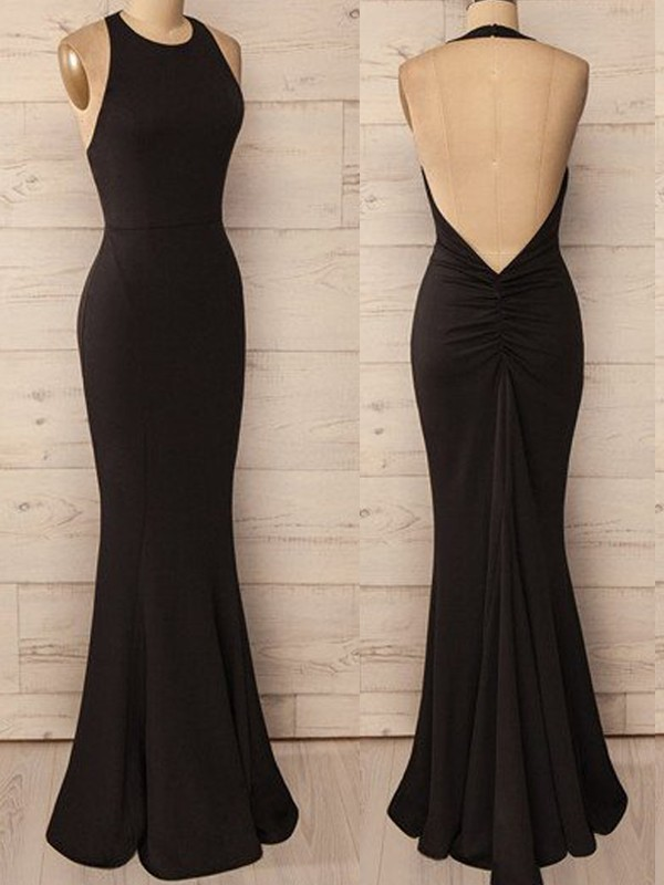Stunning Mermaid Halter Sleeveless Floor-Length Spandex Dress