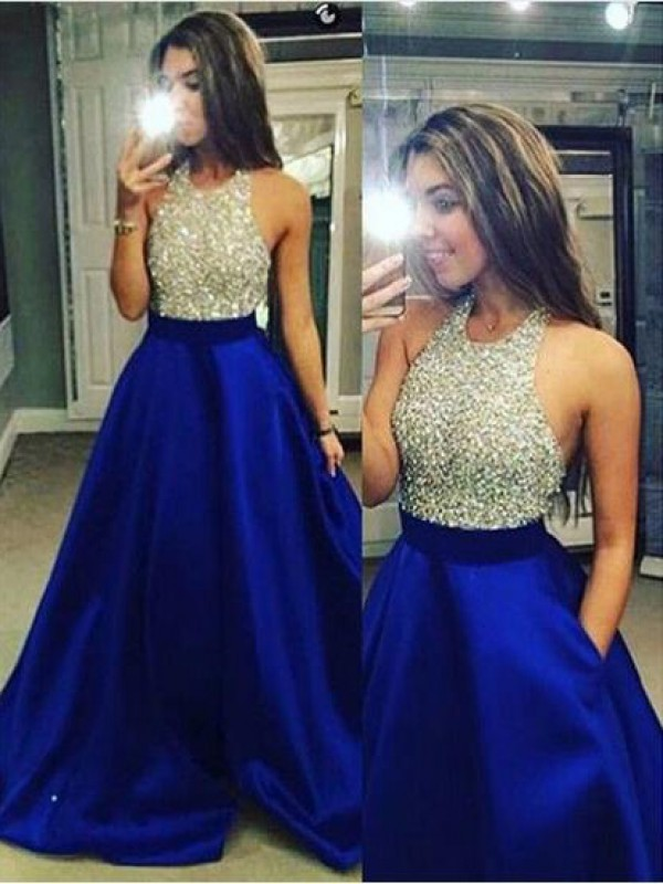 Cheap Ball Gown Sleeveless Jewel Satin Floor-Length Dress