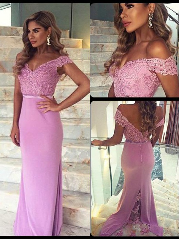 Stunning Sheath Off-the-Shoulder Sleeveless Lace Floor-Length Satin Dress