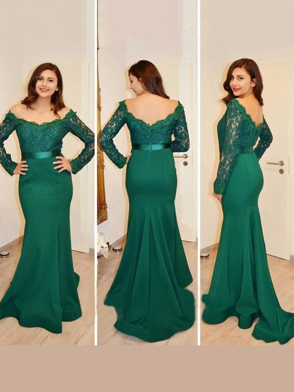 Stunning Mermaid Off-the-Shoulder Long Sleeves Floor-Length Satin Dress