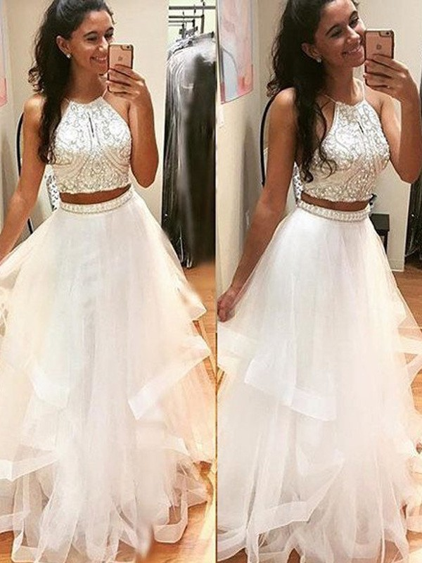 Stunning A-Line Sleeveless Halter Floor-Length Tulle Dress
