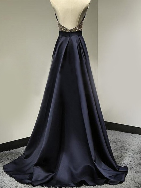 Stunning A-Line Sleeveless Halter Satin Floor-Length Dress
