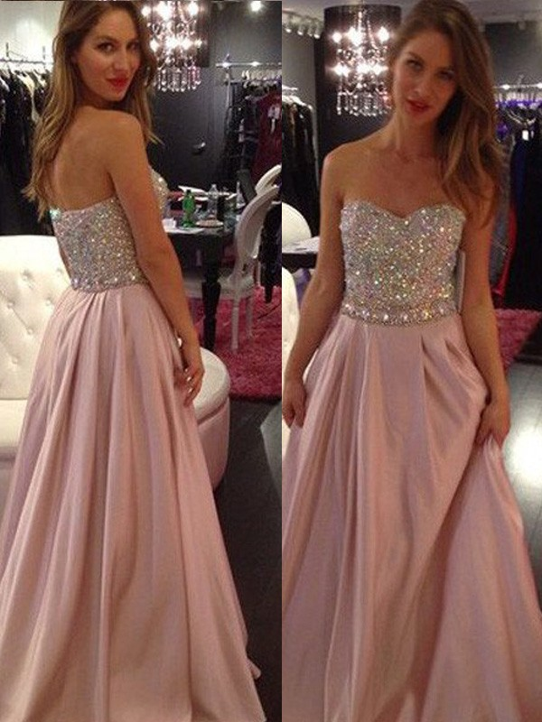 Stunning A-Line Sleeveless Sweetheart Floor-Length Chiffon Dress