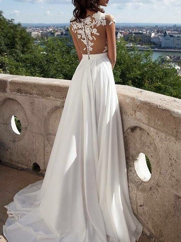 Stunning A-Line Short Sleeves Scoop Floor-Length Chiffon Dress