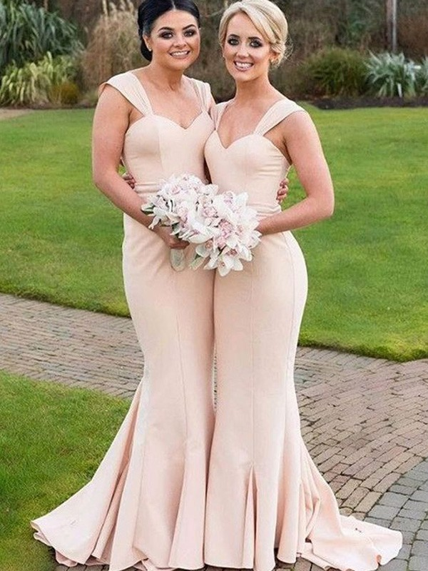 Discount Mermaid Sweetheart Sleeveless Satin Floor-Length Bridesmaid Dress
