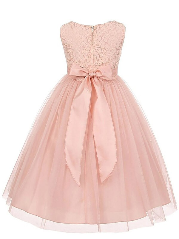 Chic A-Line Scoop Sleeveless Tulle Ankle-length Flower Girl Dress