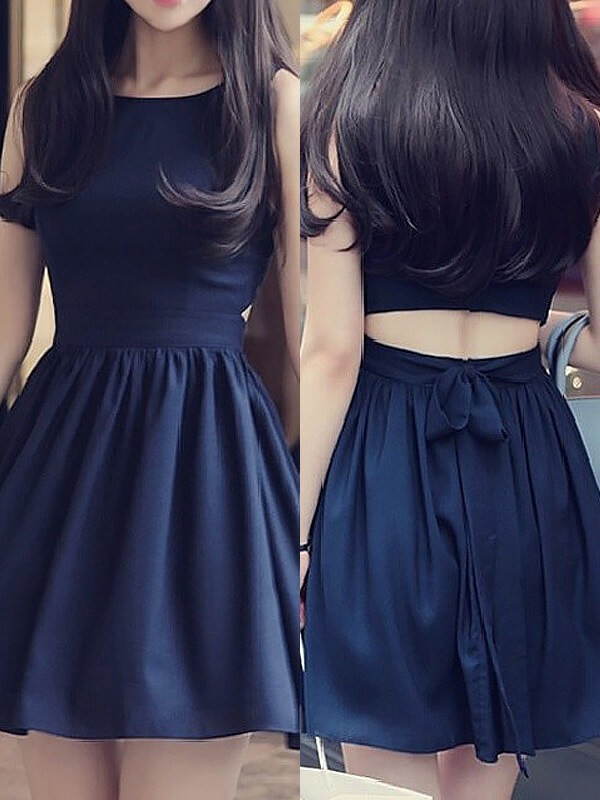 Stylish A-Line Scoop Sleeveless Short/Mini Chiffon Dress