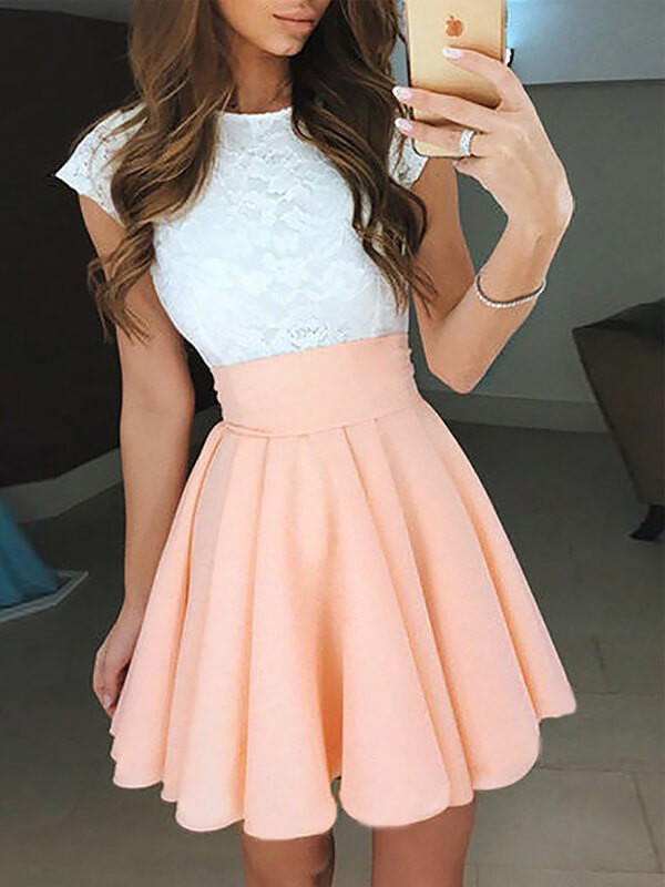 Stylish A-Line Jewel Sleeveless Lace Short/Mini Chiffon Dress
