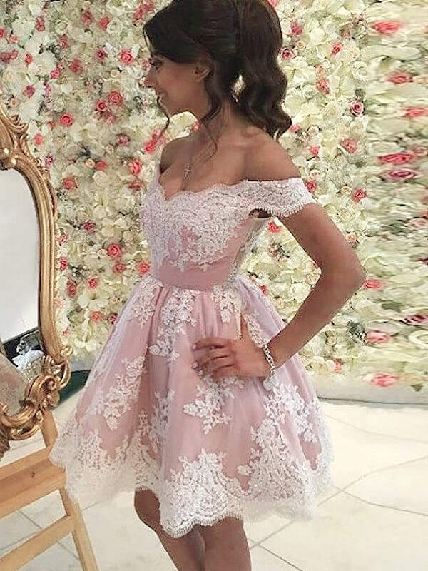Stylish A-Line Off-the-Shoulder Sleeveless Short/Mini Tulle Dress