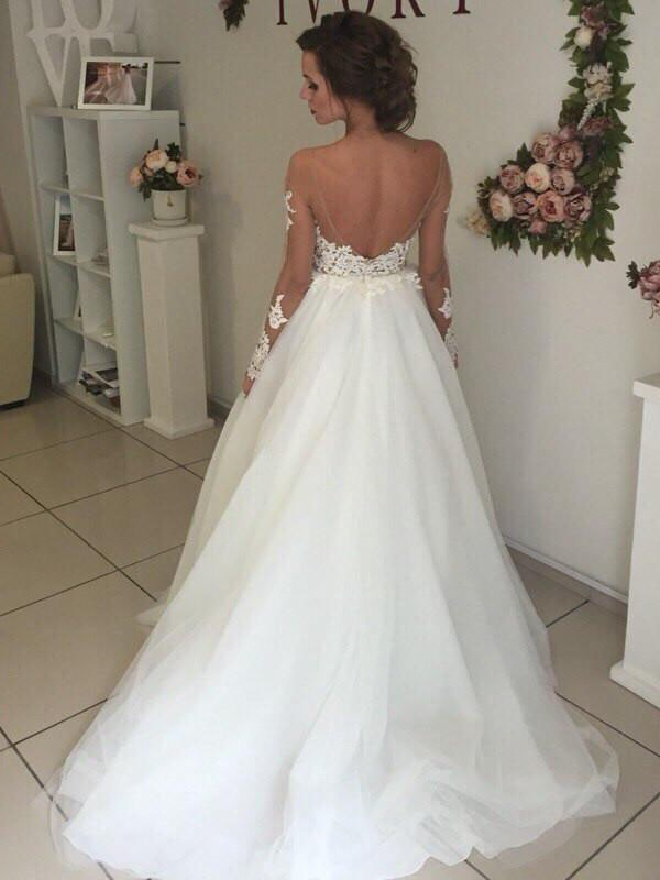 Fashion A-Line Organza Off-the-Shoulder Sweep/Brush Train Long Sleeves Wedding Dress