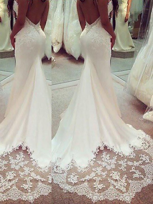Fashion Mermaid Satin Spaghetti Straps Sleeveless Court Train Wedding Dress