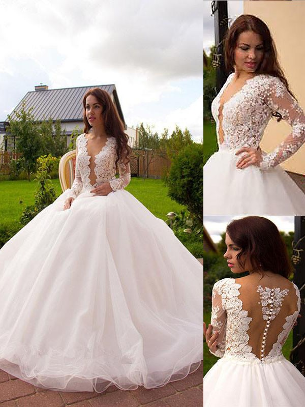 Exquisite Ball Gown V-neck Tulle Long Sleeves Court Train Wedding Dress