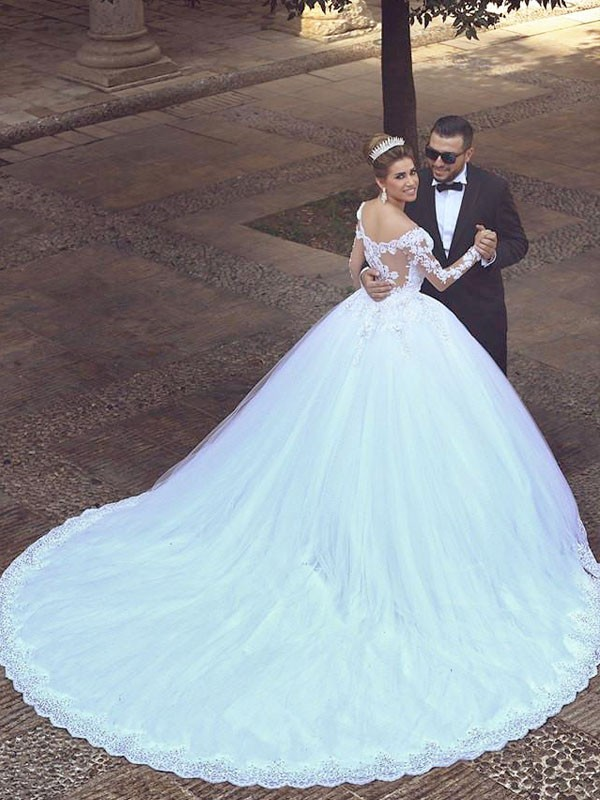 Exquisite Ball Gown Tulle Long Sleeves Off-the-Shoulder Court Train Wedding Dress
